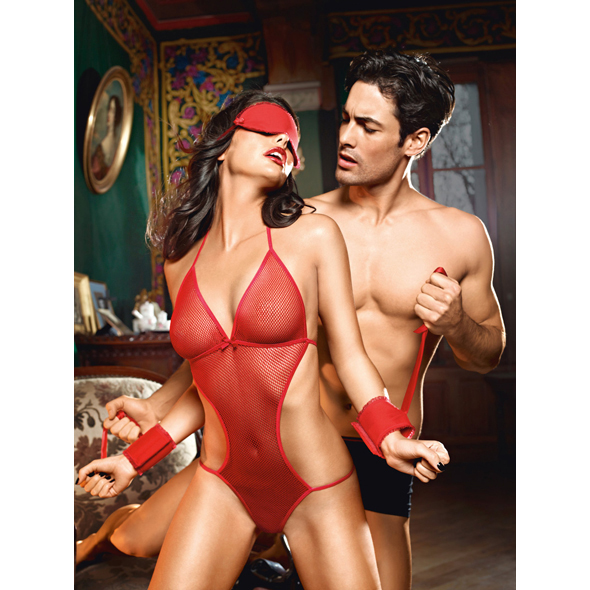 Baci - Love Slave Set Fishnet Red One Size