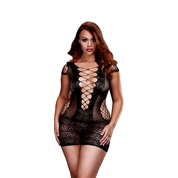 Baci - Corset Front Lace Mini Dress Queen Size