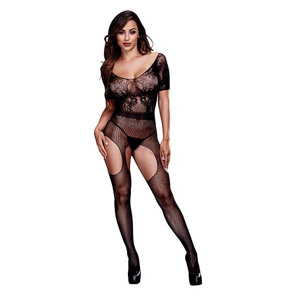 Baci - Crotchless Suspender Bodystocking One Size