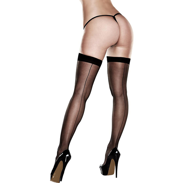 Baci - Sheer Thigh Highs With Backseam With Banded Silicone Stay-Up Queen S