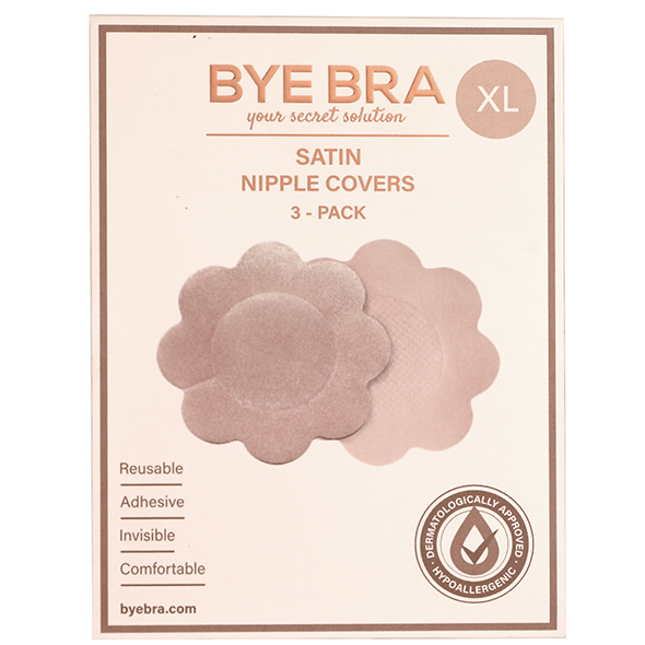 Bye Bra - Silk Nipple Covers XL Nude 4 Pairs