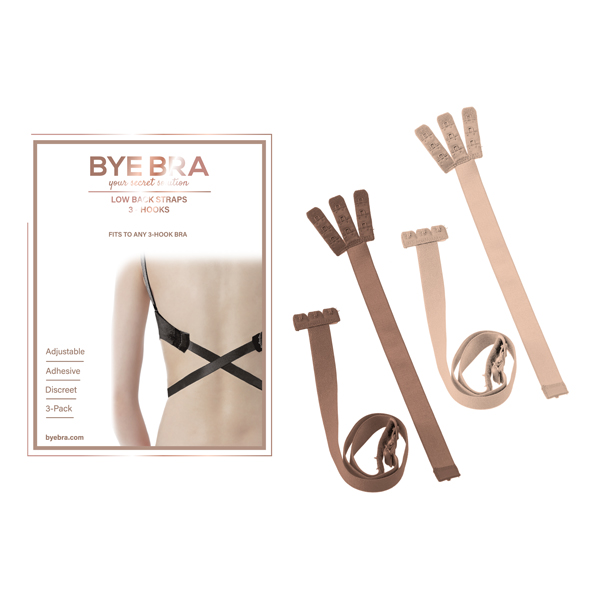 Bye Bra - Flexible Low Back Straps 3-Hook Nude (2x)