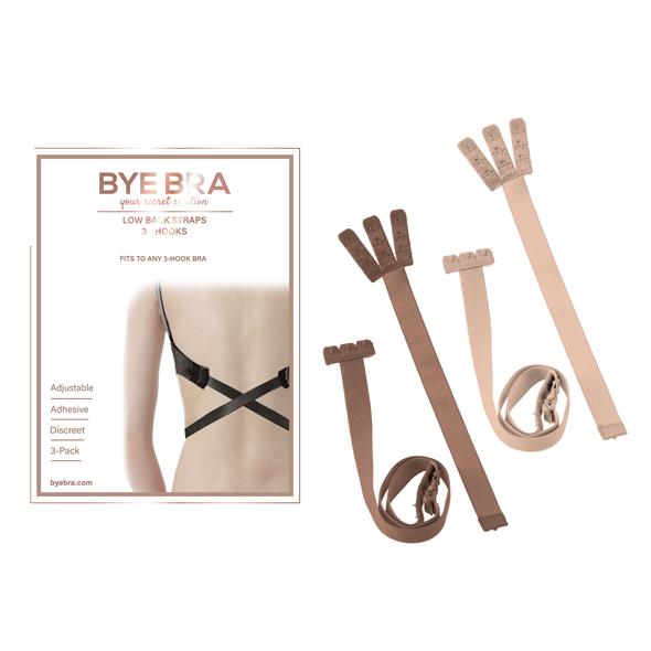 Bye Bra - Flexible Low Back Straps 3-Hook Nude (2x)