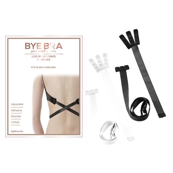 Bye Bra - Flexible Low Back Straps 3-Hook Black & White