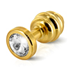 Diogol - Ano Butt Plug Ribbed Gold Plated 30 mm Sexshop Eroware -  Sexspeeltjes