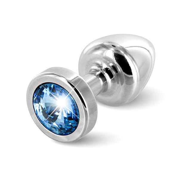 Diogol - Anni Butt Plug Round 25 mm Silver & Blue  Online Sexshop Eroware Sexshop Sexspeeltjes