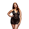 Baci - Black Lace Babydoll Queen Size Sexshop Eroware -  Sexartikelen