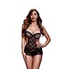 Baci - Lace Cut Out Basque No Panty Luipaard/Zwart One Size Sexshop Eroware -  Sexspeeltjes