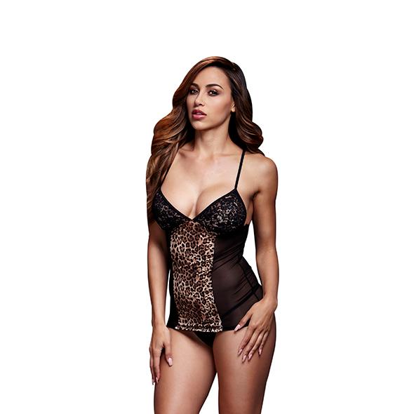 Baci - Leopard Basque & Garter Stays No Panty One Size Online Sexshop Eroware Sexshop Sexspeeltjes