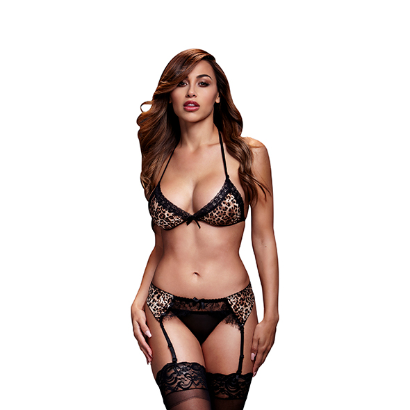 Baci - Leopard & Lace Bra Top & Garter & Panty One Size Online Sexshop Eroware Sexshop Sexspeeltjes