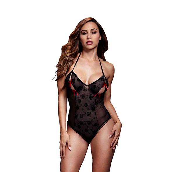 Baci - Zwart Lace Bodysuit & Bra Slits Red Bow One Size Online Sexshop Eroware Sexshop Sexspeeltjes