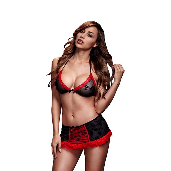 Baci - Bra Top & Black Red Lace Up Garterskirt One Size Online Sexshop Eroware Sexshop Sexspeeltjes