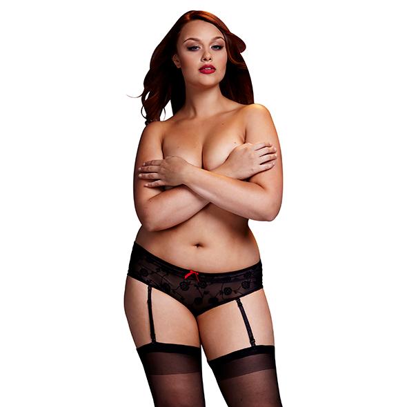 Baci - Zwarte Roos Open Kruis Boyshort Panty Queen Size Online Sexshop Eroware Sexshop Sexspeeltjes