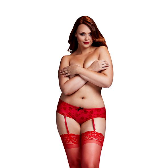Baci - Rode Roos Open Kruis Boyshort Panty Queen Size Online Sexshop Eroware Sexshop Sexspeeltjes