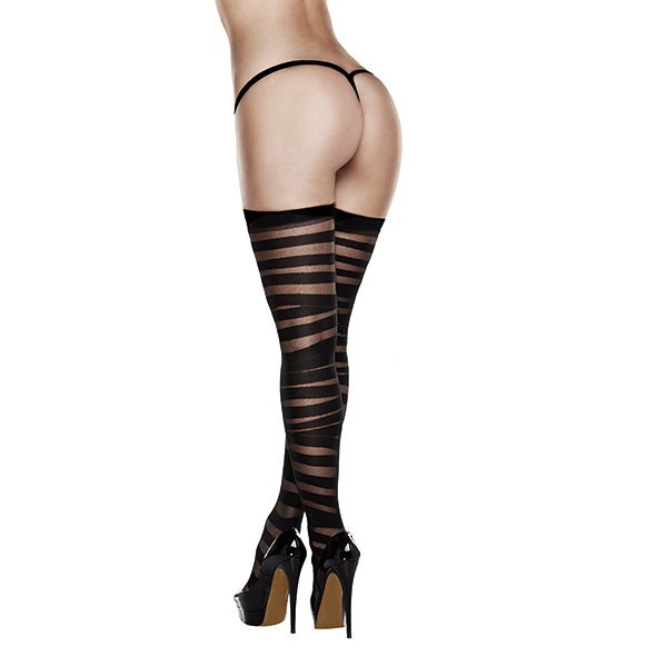 Baci - Criss Cross Sheer And Opaque Thigh Highs with Silicone Stay Up Queen Online Sexshop Eroware Sexshop Sexspeeltjes