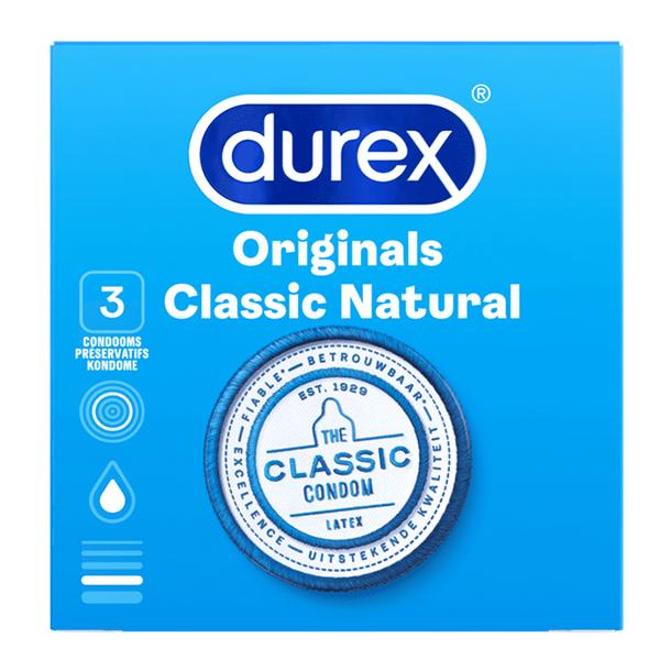 Durex - Classic Natural Condooms 3 st. Online Sexshop Eroware Sexshop Sexspeeltjes