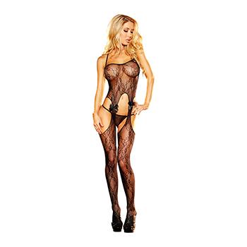 Lapdance - Crotchless Lace Bodystocking Black